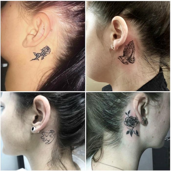 vier bilder mit vier jungen frauen mit einer kleinen schwarzen tätowierung mit einer schwarzen rose, einem löwe und einem schwarzen fliegenden vogel
