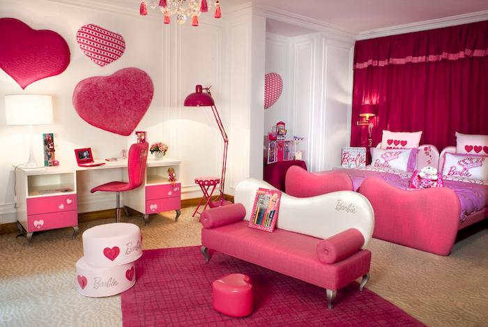 jugendzimmer komplett mit liebe einrichten herzchen deko ideen nuancen der farbe rosa barbie stil barbie style zimmer