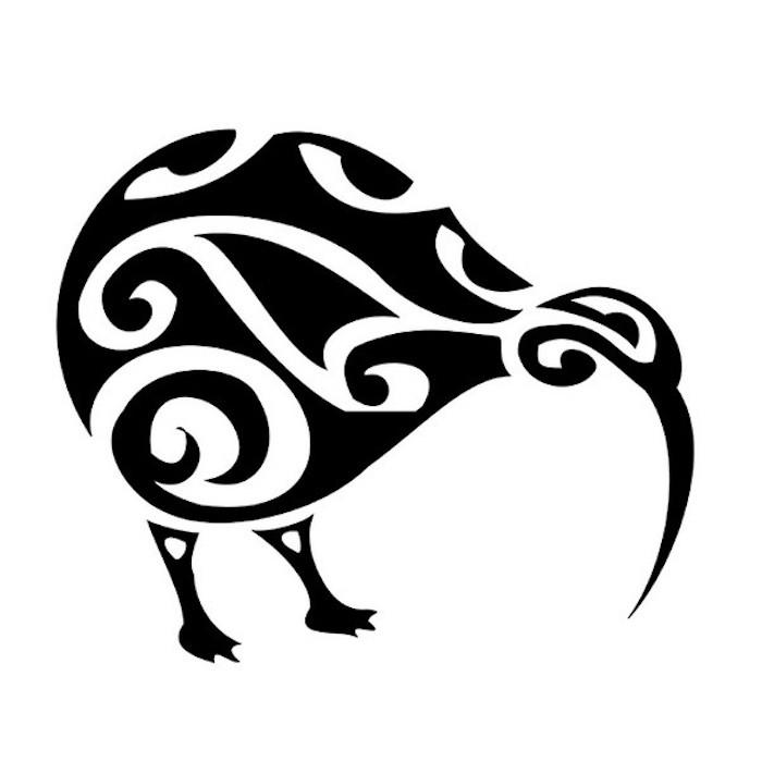 kiwis - eine idee für einen großen schwarzen maori tattoo mit einem vogel