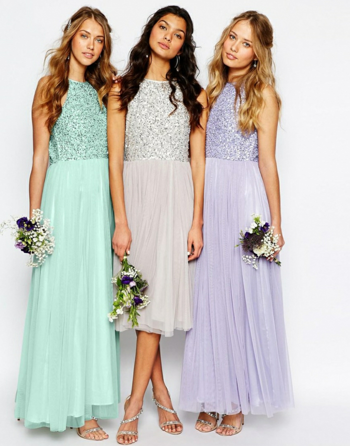 Brautjungfernkleider mit Glitzer-Oberteil, Cocktailkleider in zarten Pastelltönen, Ideen für festliches Outfit
