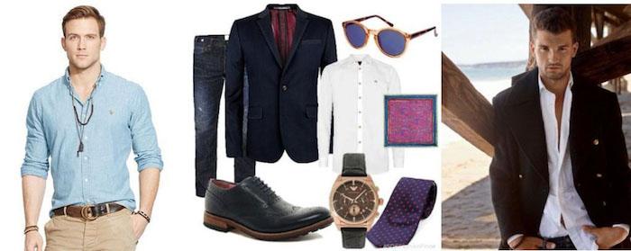 silvester outfit ideen für männer mann mit stil business casual weiße hose beige hose blazer armbanduhr