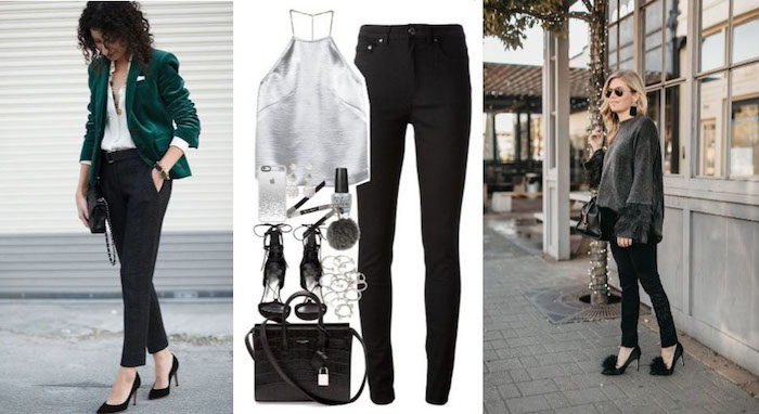 silvester outfit idee für damen mit hose hose zu silvesterfeier stylen silberner top absatzschuhe glamoriös grüner blazer
