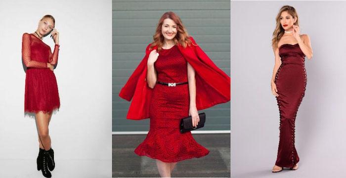 silvester kleider in roter farbe drei kleider in verschiedenen längen die rote farbe ist klassiker und ein must have