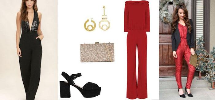 silvester kleider und outfit ideen für die damen jumpsuit idee schwarz oder rot ohrringe clutch absatzschuhe