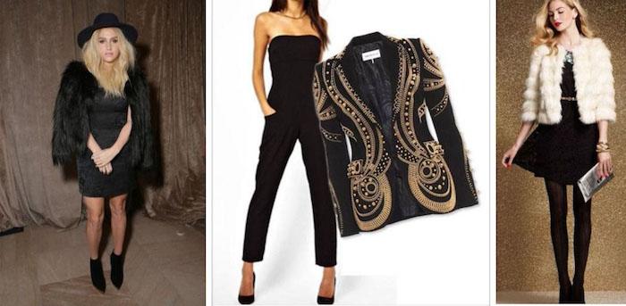 silvester kleider mit einem mantel kombinieren oder mit blazer flauschige jacken in schwarz oder weiß und blazer it goldenen faden und dekorationen
