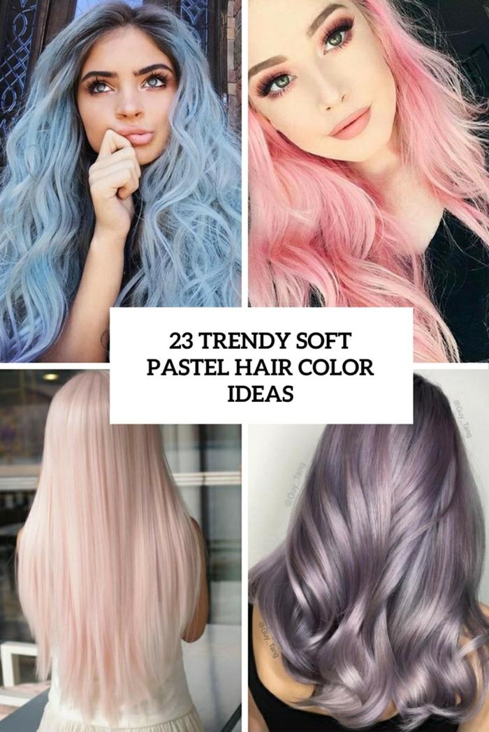 lange glatte rosa haare, trendige frisuren und haarfarben, pastellfarben