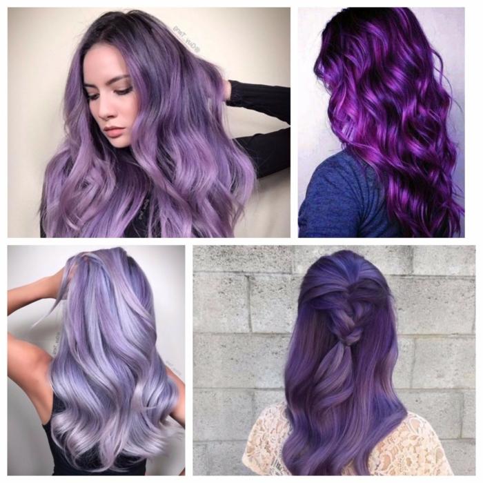 vier Bilder von vier Mädchen mit Haaren in vershiedenen Lila Nuancen mit verschiedenen Farbreflexen und Farbschattierungen