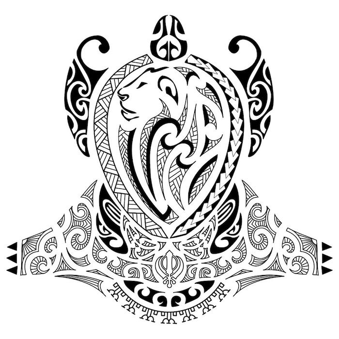 ein großer schwarzer maori tattoo mit einer schwarzen schildkröte mit schwarzen augen und mit einem großen löwe