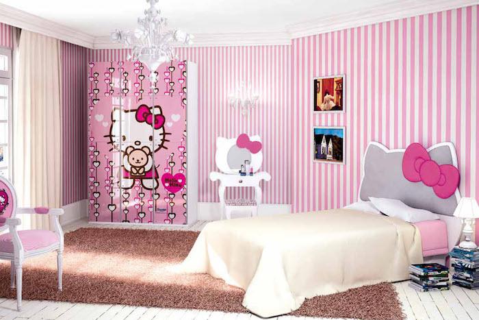 jugendzimmer weiß und rosa mit dem motiv hello kitty wanddeko wandtapeten rosa streifen schrank