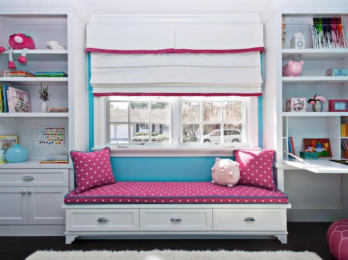 coole möbel ideen und inspirationen weiß rosa zyklame blau fenster storen deko ideen regale teppich deko