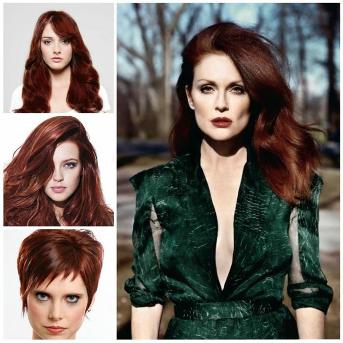 drei Bilder mit quadratischer Form und ein viereckiges Bild, auf dem größeren Bild ist eine schöne Frau mit braunen Haaren mit Karamell-Spitzen, sie hat ein schmales Gesicht und ist leicht geschminkt, sie trägt ein grünes Designer-Kleid aus Tüll mit Ärmeln bis zum Ellenbogen und befindet sich im Wald, auf den anderen drei Fotos sind Frauen mit derselben Haarfarbe mit unterschiedlicher Haarlänge und -frisuren