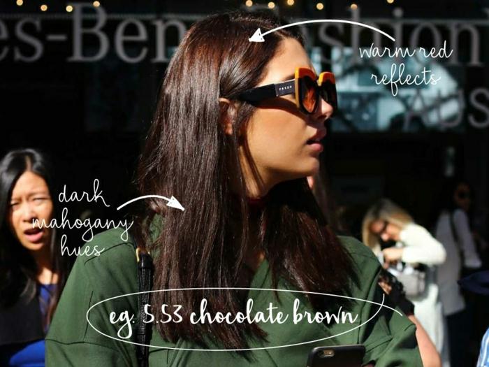 drei Frauen auf der Straße, zwei stehen im Hintergrund, eine steht vorne in der Mitte, angekleidet in Grün, sie hat mittellange glatte Haare mit Ansatz mit warmen roten Reflexen, Längen mit dunkler Mahagoni-Färbung und Spitzen in Schokoladenbraun, site trägt teure Sonnenbrille mit schwarzem Rahmen und orangen Gläsern