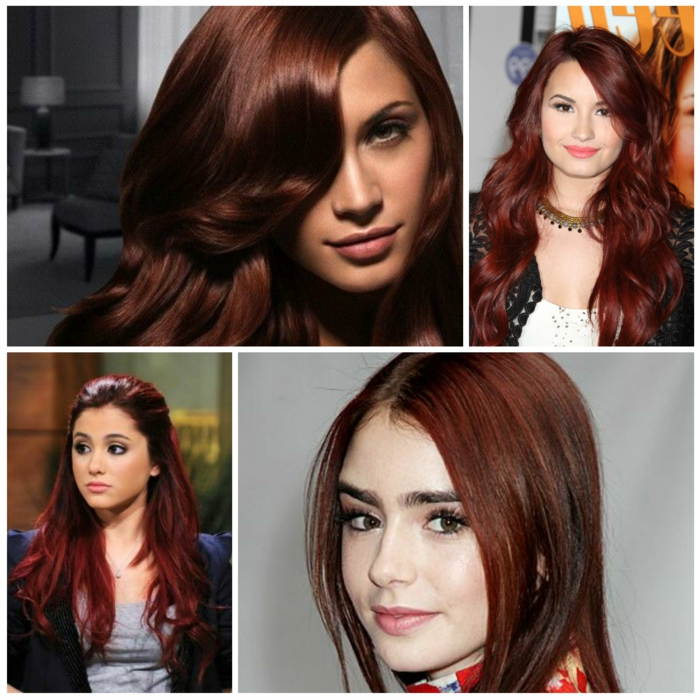 Fotocollage aus vier Bildern - Karamellbraun mit grünen Augen, Rotbraun mit schwarzen Augen, rote Haare mit schwarzen Augen, braune Haare mit grünen Augen