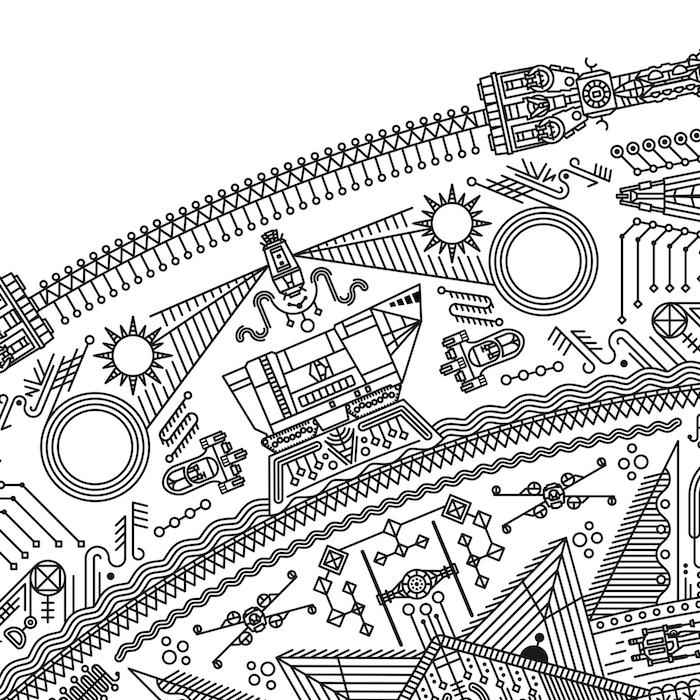 eine tätowierung mit mandala motiven und kleinen weißen und schwarzen fliegenden raumschiffen und robotern - mit sonnen und planeten und maschinen