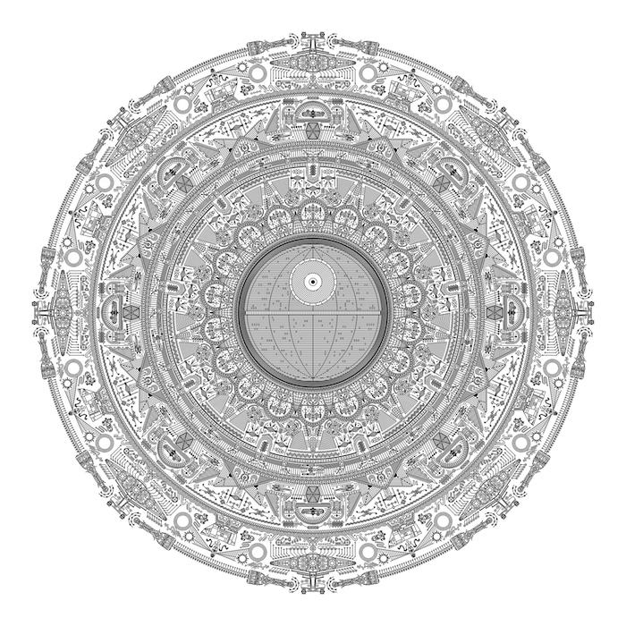 eine große mandala tätowierung mit vielen kleinen weißen und schwarzen star wars raumschiffen, sonnen und sternen und mandala motiven