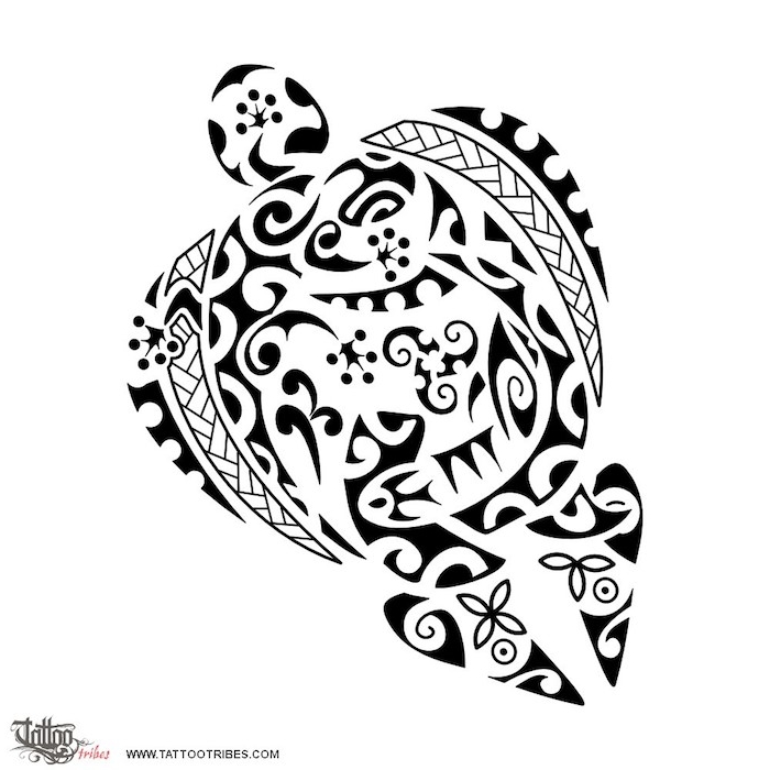 eine große schwarze schildkröte mit kleinen schwarzen blumen - idee für einen großen schwarzen maorie tattoo