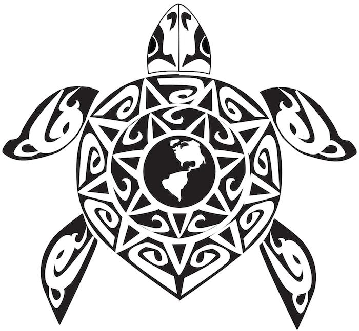 eine schwarze große schildkröte und eine große sonne - maori tattoo bedeutung