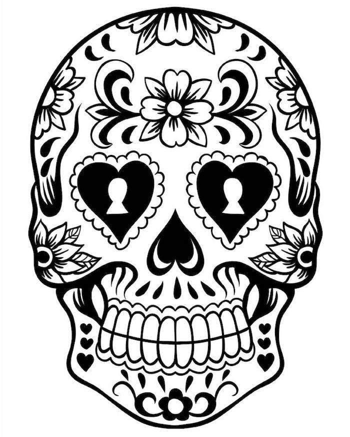 mexikanische totenmaske bedeutung totenkopf mit blumen und herzen bemalt tattoo vorlage