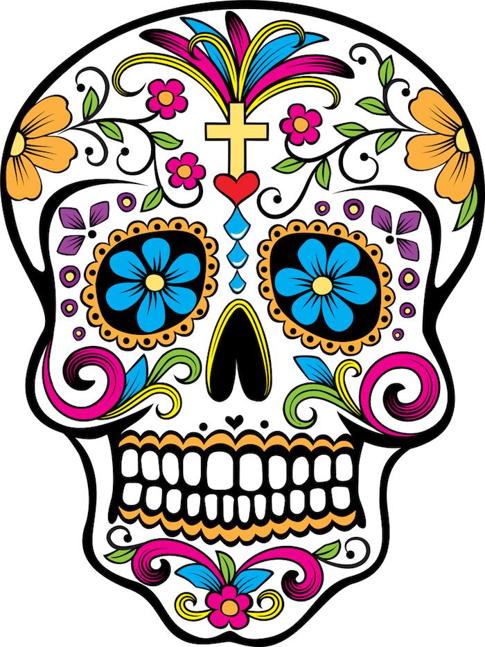 bunter mexikanischer totenkopf tattoo mit einem gelben kreuz und großen und kleinen violetten und gelben blumen, la catrina bedeutung