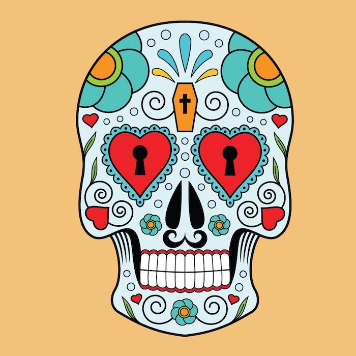 ein tattoo mit einem totenkopf mit großen roten herzen und grünen blumen -mexikanischer totenkopf tattoo, mexikanische totenmaske tattoo mann