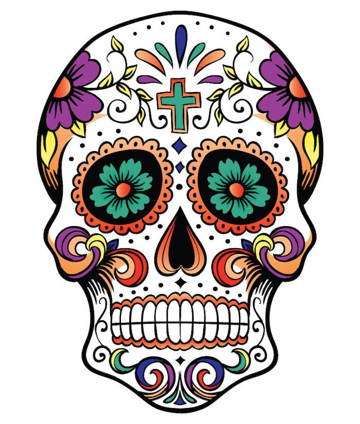 totenkopf mit einem kleinen grünen kreuz und großen und kleinen violetten und grünen blumen - mexikanischer totenkopf tattoo