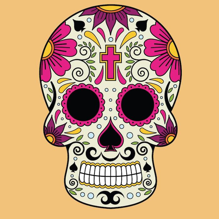 ein totenkopf mit einem kleinen violetten kreuz und großen violetten und pinken blumen und weißen zähnen und grünen blättern, totenkopf bunt tattoo,