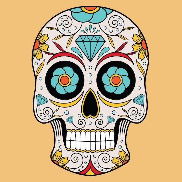 ein mexikanischer totenkopf tattoo mit großen gelben und blauen blumen und diamanten, mexikanische totenmasken tattoos