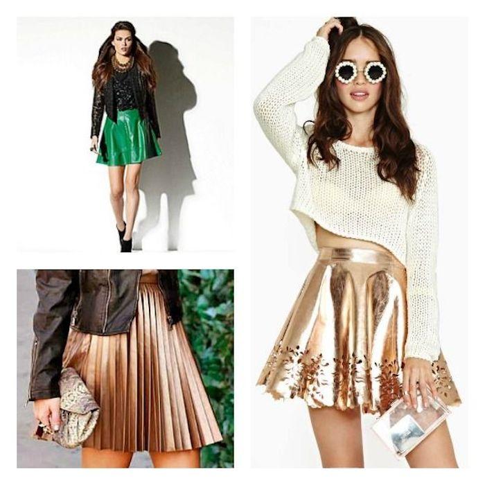outfit weihnachten goldener rock tragen idee grün oder golden schwarze lederjacke stylen