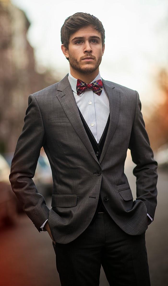 party outfit männer mann mit stil schönes outfit stylen idee grauer anzug rote krawatte