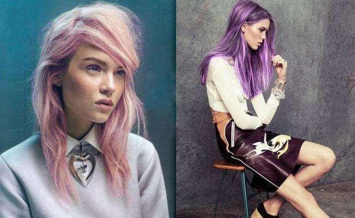 haarfarbe lila, frau mit mittellange rosa haare, weiße bluse in kombination mit braunem rock