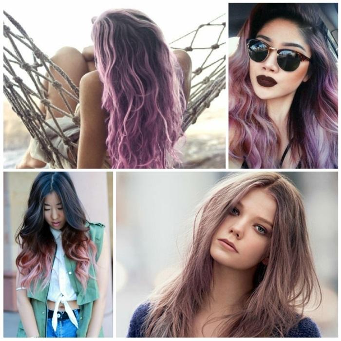 pastell tönung, frisur mit locken, frau mit aschbraunen haaren, lilafarbene haare