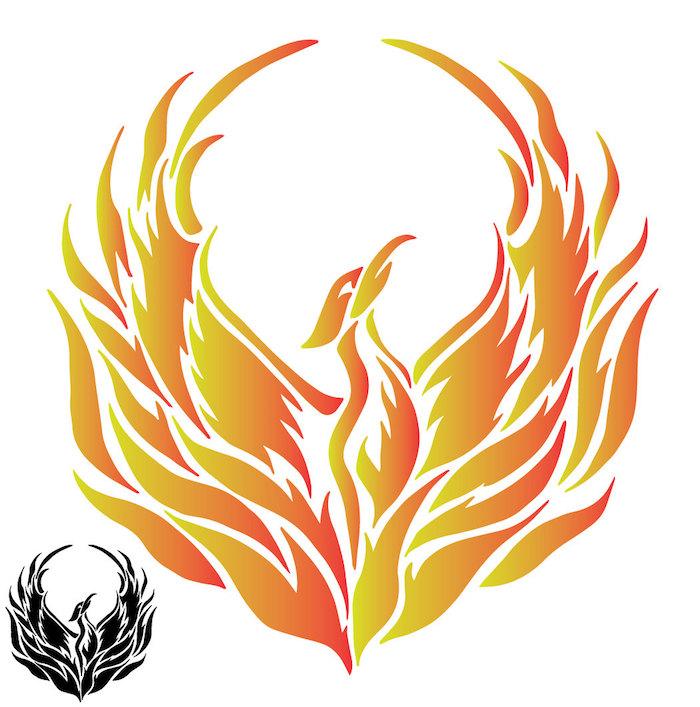 idee für einen tattoo mit einem aus seiner eigenen asche auferstehenden fliegenden phönit mit zwei flügeln mit roten, orangen und gelben federn