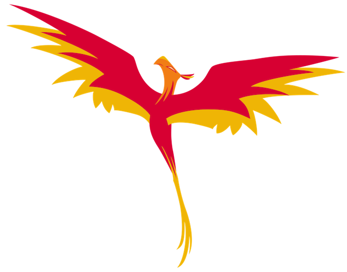 Feuervogel Tattoo, fliegender brennender phönix mit zwei roten langen flügeln mit roten und gelben federn - idee für einen phönix tattoo,