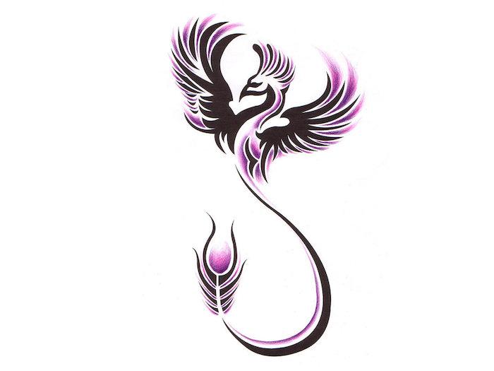 phönix tattoo bedeutung - ein schwarzer fliegender phönix mit schwarzen flügeln und schwarzen und violetten federn