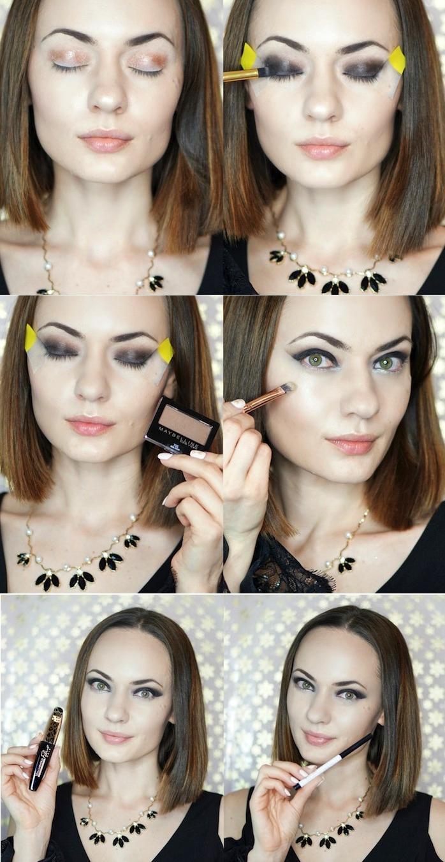 richtig schminken, lange bob frisur, abend make-up in schwarz
