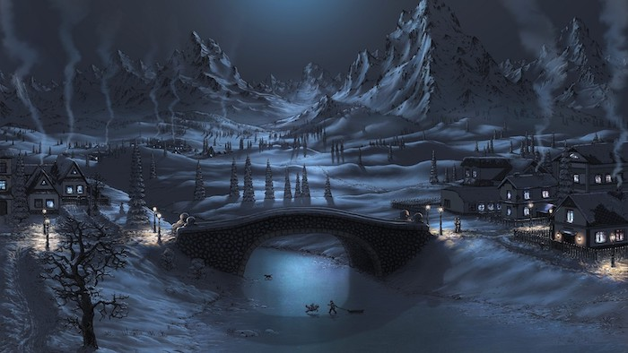 ein winterbild mit einem kleinen dorf mit vielen kleinen häusern und bäumen, einem fluss und einer großen brücke