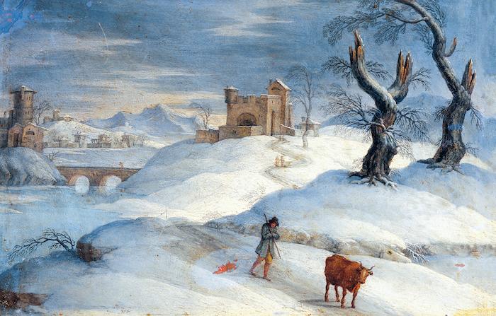 fluss und eine brücke und ein schloss - ein mann und zwei bäume - ein schönes winterbild