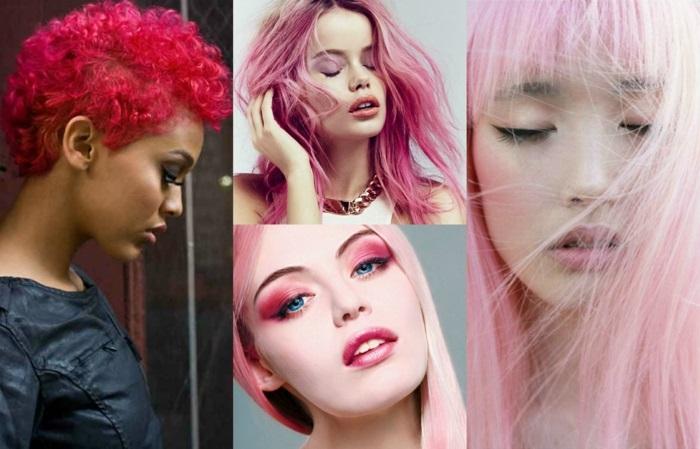 pastell rosa, kurze neonfarbene haare, make-up- für rosafarbene haare