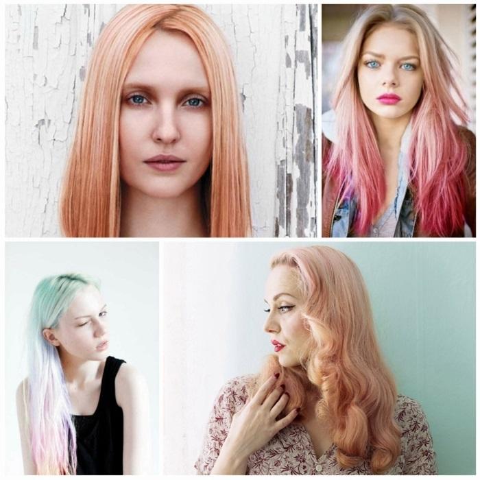 pastell rosa, honigfarbene haare mit rosa haarspitzen, frisur im ombre look, retro frisur