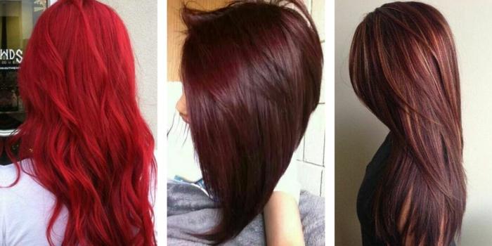 Fotocollage aus drei Bildern von drei Frauen mit unterschiedlicher Haarfarbe und unterschiedlichen Frisuren - die erste Frau hat sehr lange und dichte grellrote Haare, die leicht gewellt sind, die zweite Frau auf dem Bild in der Mitte hat mittellange Haare in Mahagonifarbe und trägt eine Bob-Frisur, die dritte Frau hat lange geglättet rotbraune Haare mit dunkelblonden Strähnen
