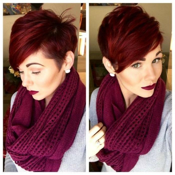 Kurze mit roten strähnen schwarze haare Kurze schwarze