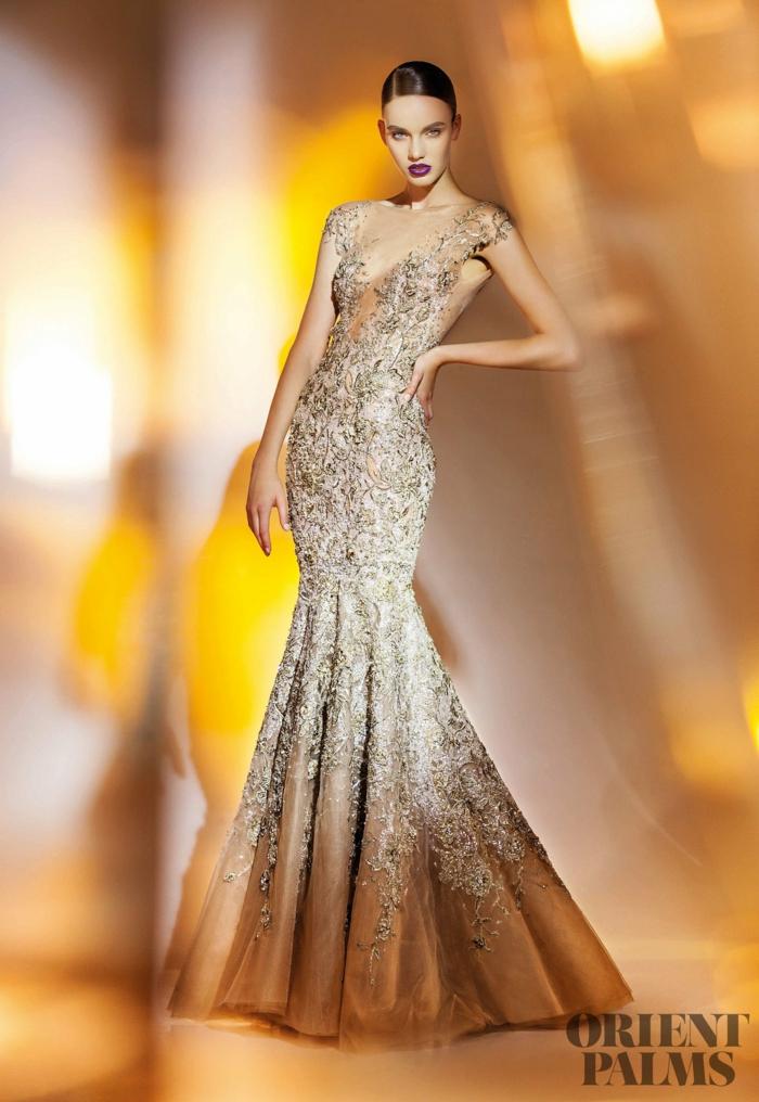 Meerjungfrau-Kleid mit Spitzenelementen, Abendkleid für besondere Anlässe mit Perlen verziert, elegantes Outfit