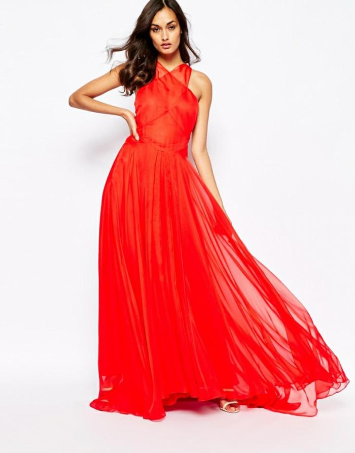 Rotes bodenlanges Abendkleid, locker fallend, mit gekreuzten Trägern, elegantes A-Linien Kleid