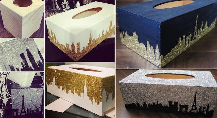 Kästchen basteln - Schachtel für Taschentücher wie Paris mit Glitter geschmückt