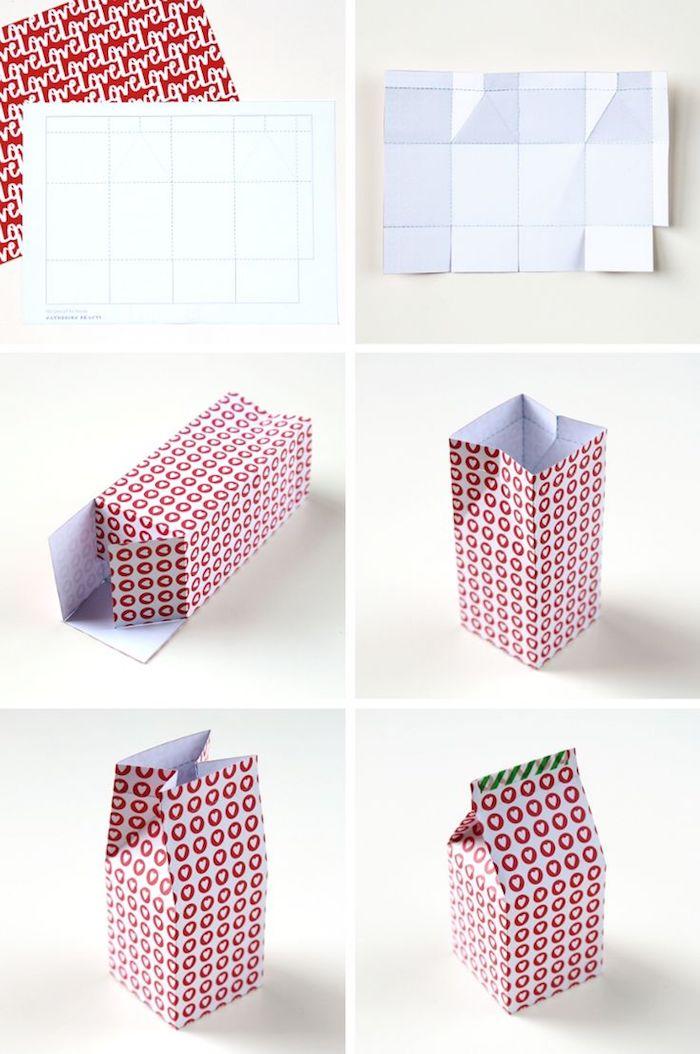 Pappschachteln - sechs Schritte, um eine Schachteln zu Valentinstag selbst zu falten