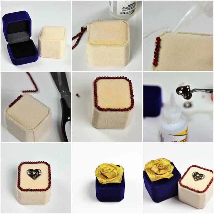 wie Schachteln für die Ringe selber zu machen in beiger und blauer Farbe - Schachtelvorlage