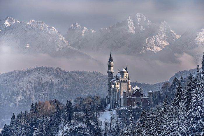 ein wald mit vielen bäumen und schnee - ein schloss mit großen türmen - winterberge mit schnee - himmel mit weißen wolken