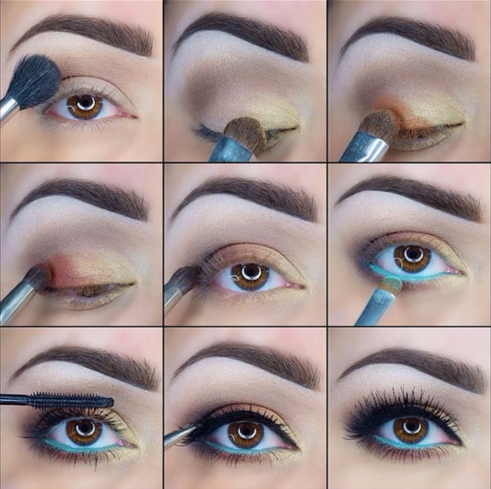 schmink tipps für braune augen, festliches make-up in gold, braun und blau