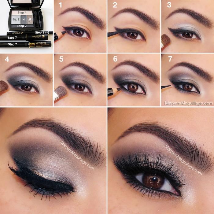 schmink tipps für braune augen, abend make-up in grau