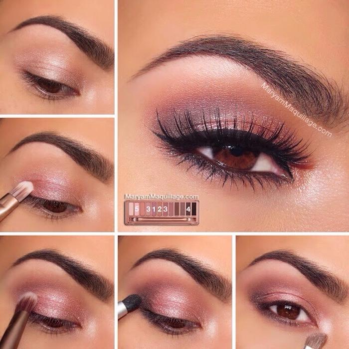 schmink tipps für braune augen, festliches make-up in rose-gold